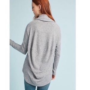 Anthropologie Sweaters - Anthro   gray rib knit cowl neck sweater M/L 524